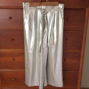 Zara silver metallic culottes.